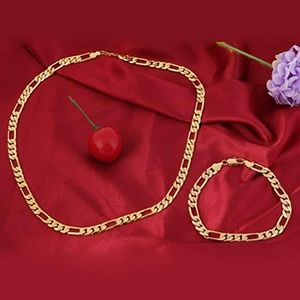 Other - 24k Yellow Gold Plated Mens Chain Bracelet Set